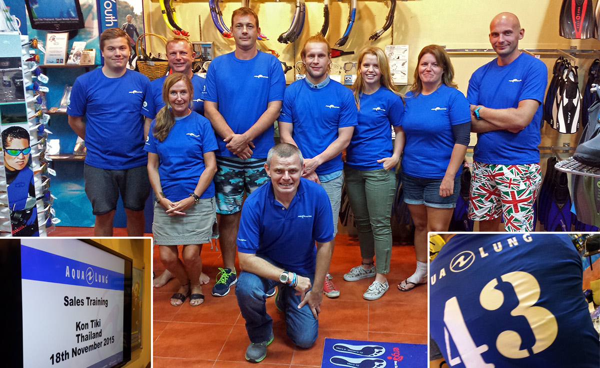sales training latest diving equipment with aqualung at kontiki krabi